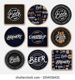 Set of 9 coasters for beer with hand written lettering words. Bierdeckel, beermat for bar, pub, beerhouse. Round, square stand. Beer, brewery, oktoberfest hand written lettering. Vintage style. Vector