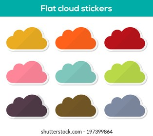 Set of 9 colorful cloud stickers in flat design style