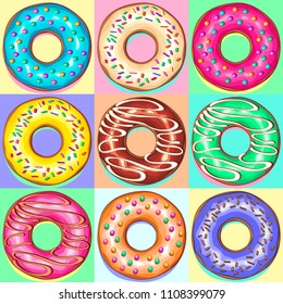 Set of 9 Colorful Punchy Pastel Donuts, showcasing Color trends like Baby Blue, Yellow Mellow, Pink, on Pop Art Style.