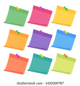 Set of 9 colorful sheets of note papers in flat style, ready for your message. Collection of different nine colored sheets of note papers. Isolated on white background.  Vector illustration