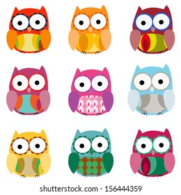 Set of 9 colorfully owls