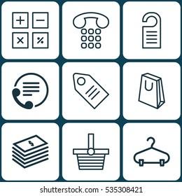 Set Of 9 Commerce Icons. Includes Callcentre, Handbag, Peg Symbols. Beautiful Design Elements.