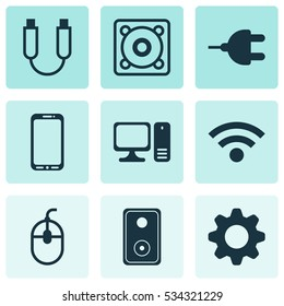 Set Of 9 Computer Hardware Icons. Can Be Used For Web, Mobile, UI And Infographic Design. Includes Elements Such As Wireless, Audio Device, Portable Memory And More.