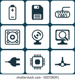 Set Of 9 Computer Hardware Icons. Includes Computer Keypad, Laptop, Connector And Other Symbols. Beautiful Design Elements.