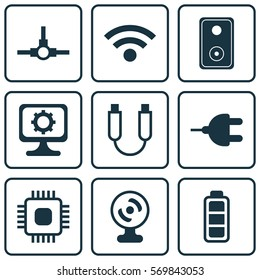 Set Of 9 Computer Hardware Icons. Includes Network Structure, Accumulator Sign, Connector And Other Symbols. Beautiful Design Elements.