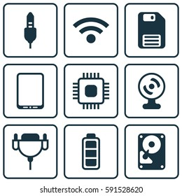 Set Of 9 Computer Hardware Icons. Includes Diskette, Web Camera, Accumulator Sign And Other Symbols. Beautiful Design Elements.
