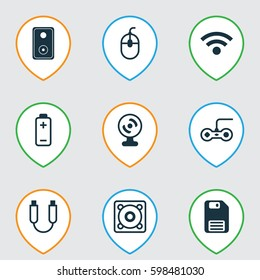 Set Of 9 Computer Hardware Icons. Includes Battery, Web Camera, Portable Memory And Other Symbols. Beautiful Design Elements.