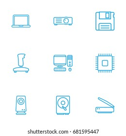 Set Of 9 Computer Outline Icons Set.Collection Of Notebook, Hdd, Gamepad And Other Elements.