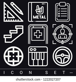 Set of 9 concept outline icons such as steering wheel, hospital, ruler and pencil, stairs, checklist, target, album
