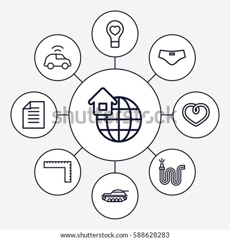Set 9 Concept Outline Icons Such Stock Vector Royalty Free