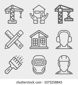 Set of 9 construction lineal icons such as tower crane, drawing, paint brushes, house, crane, helmet, weld