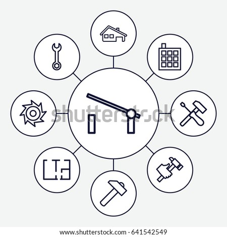 set 9 construction outline icons such stock vector royalty free Hummer H3 Colors set of 9 construction outline icons such as barrier building wrench hummer