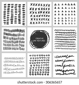 Set of 9 creative modern backgrounds made with ink strokes and splashes. Hand Drawn textures. Template for banners, cards, flyers.