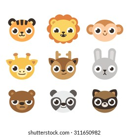 Set of 9 cute cartoon zoo animal heads with different expressions. Adorable faces can be used as icons or avatars.