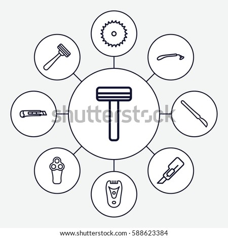 Set 9 Cutter Outline Icons Such Stock Vector Royalty Free