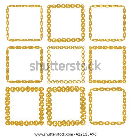 set 9 decorative square gold border stock vector royalty free
