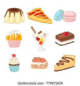Set of 9 delicious desserts. Pudding, cherry pie, macaroons, muffin, ice cream, brownie, cupcake, strawberry tiramisu,cheesecake. Isolated vector desserts icons