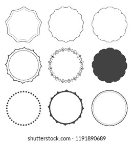 Set of 9 design frames, borders, circles isolated on white background. Star, rounded, edgy frames