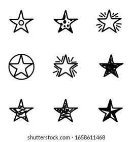 Set of 9 different hand drawn stars, rough handmade, black doodles isolated on white background EPS Vector
