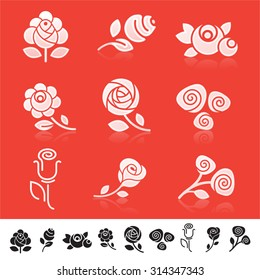 Set of 9 different icons with rose flower silhouettes