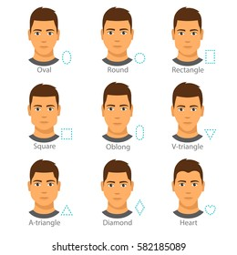Set of 9 different men faces. Forms of a male face types isolated on white background. Oval, round, rectangle, square, oblong, triangle, diamond, heart. flat vector design. cartoon style illustration.