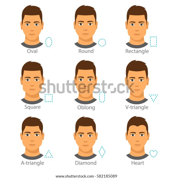 Marvelous Set 9 Different Men Faces Forms Stock Vector Royalty Free 582185089 Natural Hairstyles Runnerswayorg