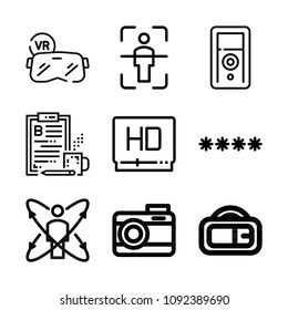 Set of 9 digital outline icons such as password, sound recorder, high definition, camera, augmented reality, body scan