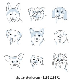 A set of 9 dog icons featuring the faces of a Husky, Pug, Dalmatian, Dachshund, Corgi, Spitz, Chihuahua, Pekingese, Yorkshire Terrier. Black and white vector symbols.