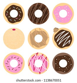 Set of 9 donut vectors with various flavors and decorations