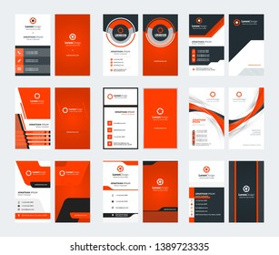 Set of 9 double sided vertical business card templates. Red color theme. Stationery design. Vector illustration