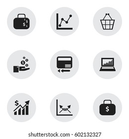 Set Of 9 Editable Analytics Icons. Includes Symbols Such As Equalizer Display, Graph Information, Money Bag And More. Can Be Used For Web, Mobile, UI And Infographic Design.