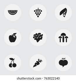 Set Of 9 Editable Berry Icons. Includes Symbols Such As Honeycrisp, Radish, Fruits And More. Can Be Used For Web, Mobile, UI And Infographic Design.