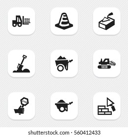 Set Of 9 Editable Building Icons. Includes Symbols Such As Handcart , Facing, Notice Object. Can Be Used For Web, Mobile, UI And Infographic Design.
