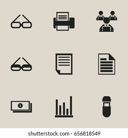 Set Of 9 Editable Bureau Icons. Includes Symbols Such As Spectacle, Eyeglasses, Usb And More. Can Be Used For Web, Mobile, UI And Infographic Design.
