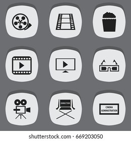 Set Of 9 Editable Cinema Icons. Includes Symbols Such As Cinema Snack, 3D Vision, Record Cam And More. Can Be Used For Web, Mobile, UI And Infographic Design.