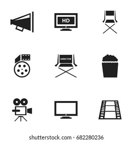 Set Of 9 Editable Cinema Icons. Includes Symbols Such As Record Cam, Reel, Hd Screen And More. Can Be Used For Web, Mobile, UI And Infographic Design.