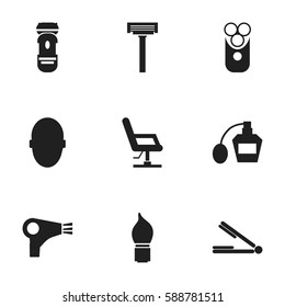 Set Of 9 Editable Coiffeur Icons. Includes Symbols Such As Take The Hair Dryer, Elbow Chair, Shaver And More. Can Be Used For Web, Mobile, UI And Infographic Design.