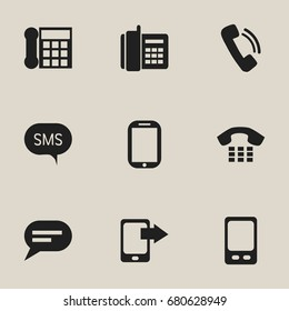 Set Of 9 Editable Device Icons. Includes Symbols Such As Comment, Talking, Message And More. Can Be Used For Web, Mobile, UI And Infographic Design.