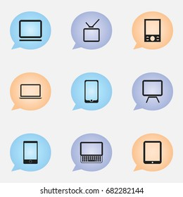Set Of 9 Editable Devices Icons. Includes Symbols Such As Telephone, Clavier, Music Phone And More. Can Be Used For Web, Mobile, UI And Infographic Design.