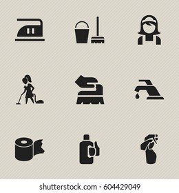 Set Of 9 Editable Dry-Cleaning Icons. Includes Symbols Such As Floor Dusting, Faucet, Smoothing And More. Can Be Used For Web, Mobile, UI And Infographic Design.