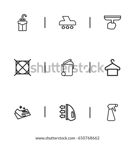 Set 9 Editable Dry Cleaning Icons Includes Stock Vector Royalty