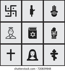 Set Of 9 Editable Faith Icons. Includes Symbols Such As Begging, Hamsa, Orthodox Symbol And More. Can Be Used For Web, Mobile, UI And Infographic Design.