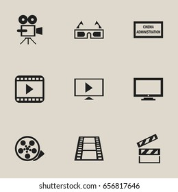 Set Of 9 Editable Filming Icons. Includes Symbols Such As Theater Agency, Monitor, 3D Vision And More. Can Be Used For Web, Mobile, UI And Infographic Design.