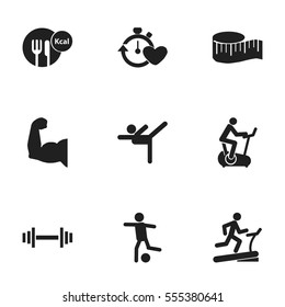 Set Of 9 Editable Fitness Icons. Includes Symbols Such As Crossbar, Racetrack Training, Health Time And More. Can Be Used For Web, Mobile, UI And Infographic Design.