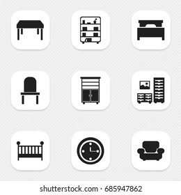 Set Of 9 Editable Furniture Icons. Includes Symbols Such As Lectern, Bookshelf, Cabinet And More. Can Be Used For Web, Mobile, UI And Infographic Design.