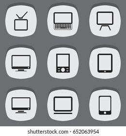Set Of 9 Editable Gadget Icons. Includes Symbols Such As Computer, Tablet Phone, Telly And More. Can Be Used For Web, Mobile, UI And Infographic Design.