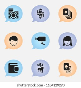 Set of 9 editable gambling icons. Includes symbols such as security camera, canine fighter, king and more. Can be used for web, mobile, UI and infographic design.