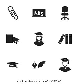 Set Of 9 Editable Graduation Icons. Includes Symbols Such As Bookshelf, Graduation Hat, Graduated Female And More. Can Be Used For Web, Mobile, UI And Infographic Design.