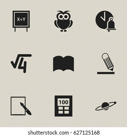 Set Of 9 Editable Graduation Icons. Includes Symbols Such As Writing, Calculator, Astrology And More. Can Be Used For Web, Mobile, UI And Infographic Design.
