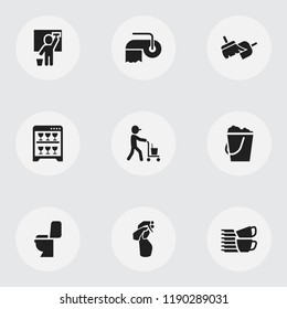 Set of 9 editable hygiene icons. Includes symbols such as housemaid, bucketful, sweeping tools and more. Can be used for web, mobile, UI and infographic design.
